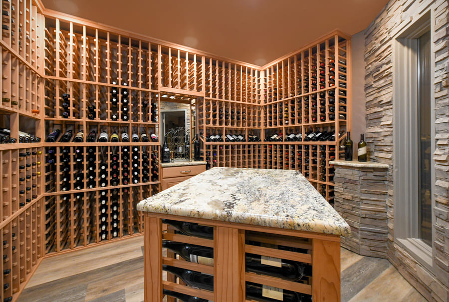 custom wood wine cellar in new jersey by GTG builders